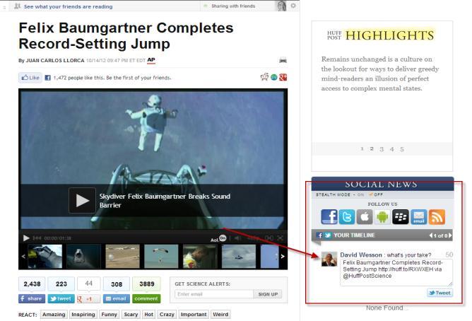 Huffington sharing tweet app